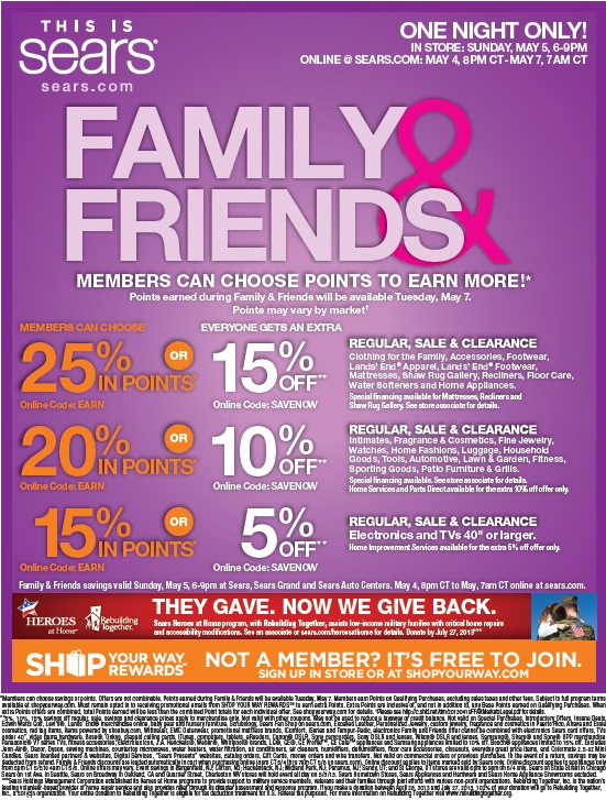 sears family and friends sale may 5