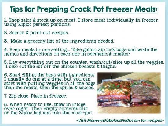 how to prep crock pot freezer meals