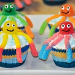 gummy worm octopus cupcake