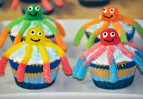 Gummy Worm Octopus Cupcakes