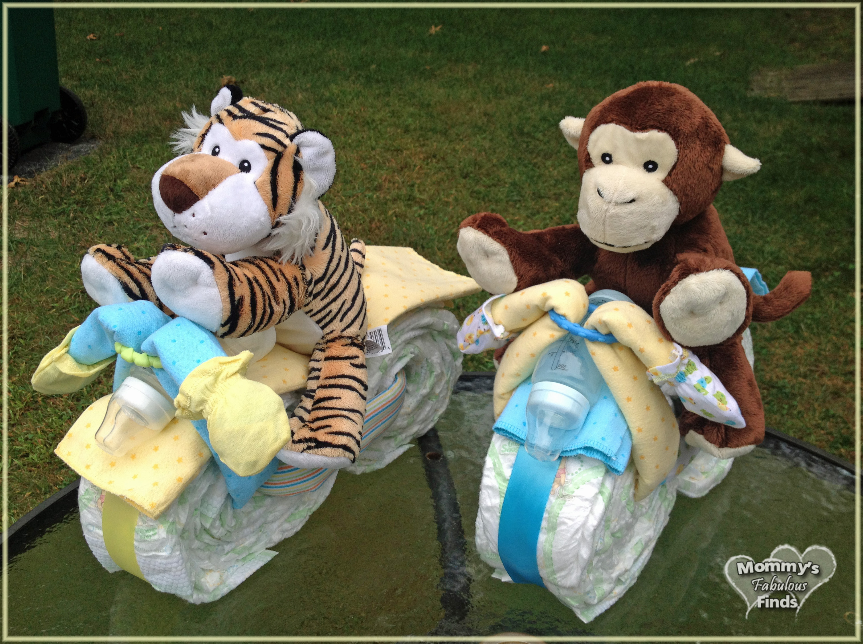 Twin Frogs Motorcycle Diaper Cake