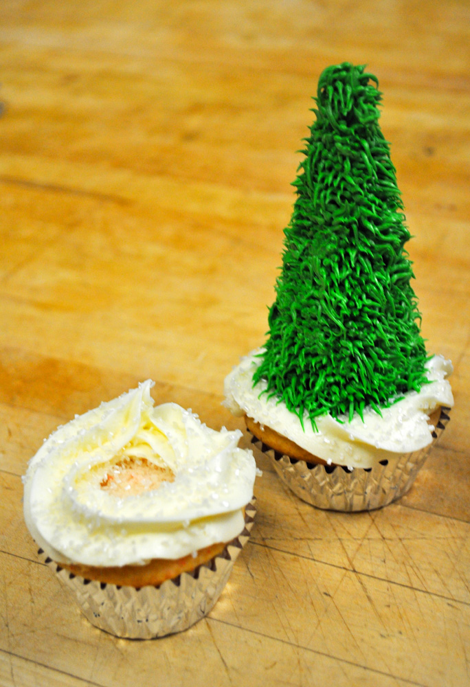 Christmas Tree Cupcakes - Made with a Sugar Cone