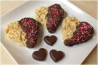 chocolate covered rice krispy hearts
