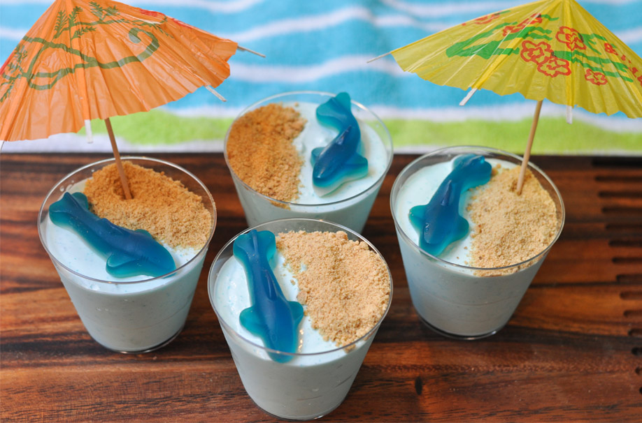 blue yogurt cups with gummy shark