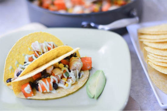 chicken and sweet potato tacos