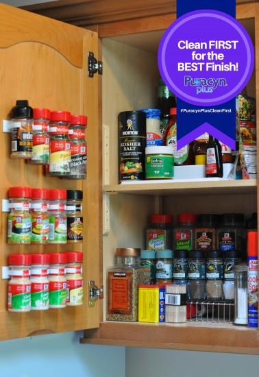 organize spice cabinet