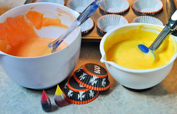yellow and orange cupcake batter