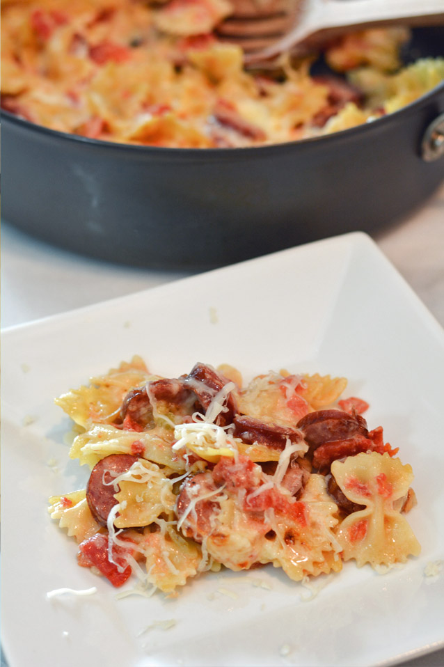 cheesy smoked sausage pasta on dinner plate