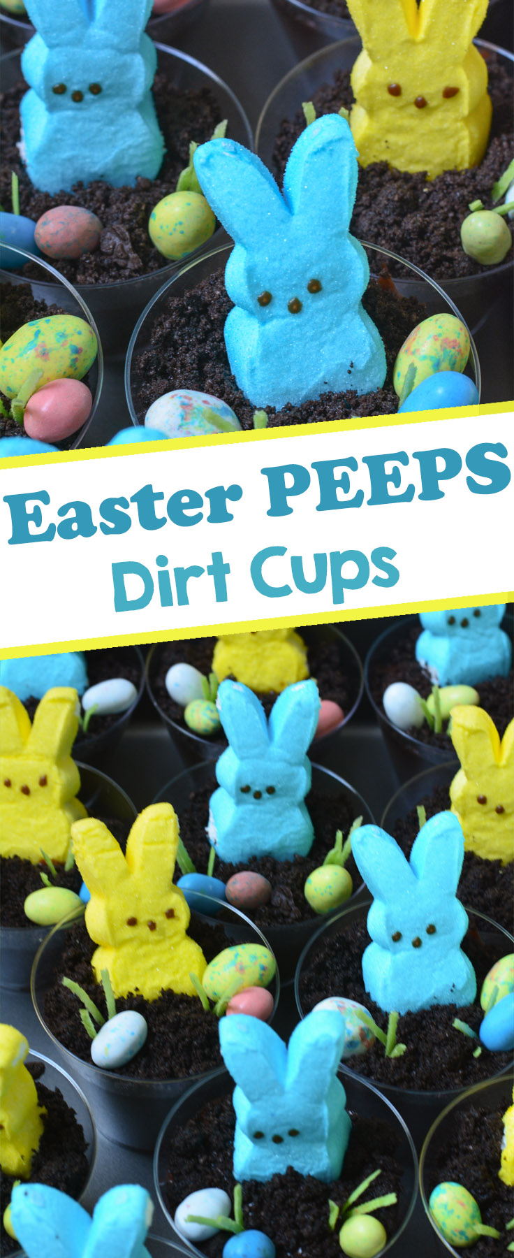 Made from layers of Oreo cookies and pudding and topped with Easter PEEPS, jelly beans, and edible grass, these Easter Bunny Dirt Cups are a fun and easy Easter treat that every bunny will love!