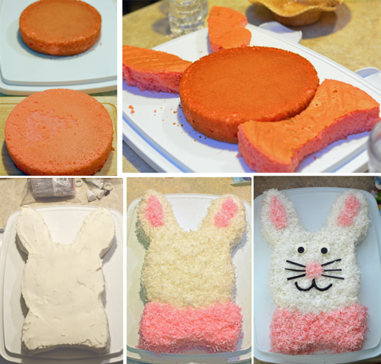 This classic Easter Bunny Cake has been a tradition in many families for years. You don't need any fancy cake pans to make this adorable Easter bunny cake, just two round cake pans.