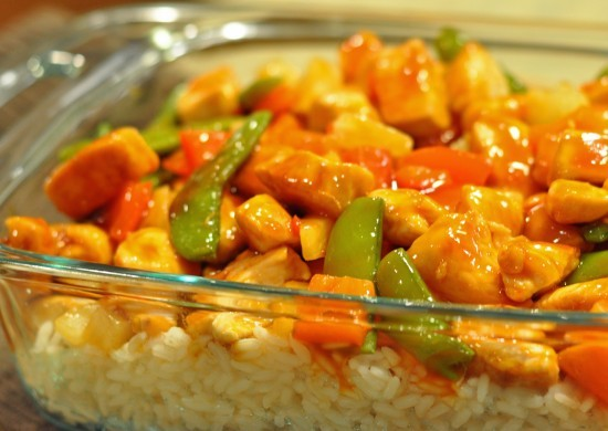 Easy Sweet and Sour Chicken with rice