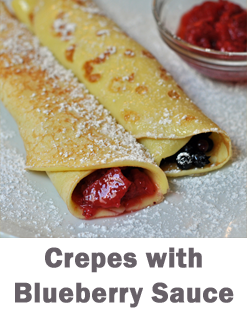 crepes with blueberry sauce