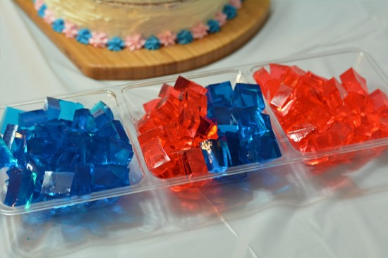 pink and blue jello gender reveal