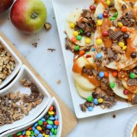Caramel Apple Nachos with M&Ms