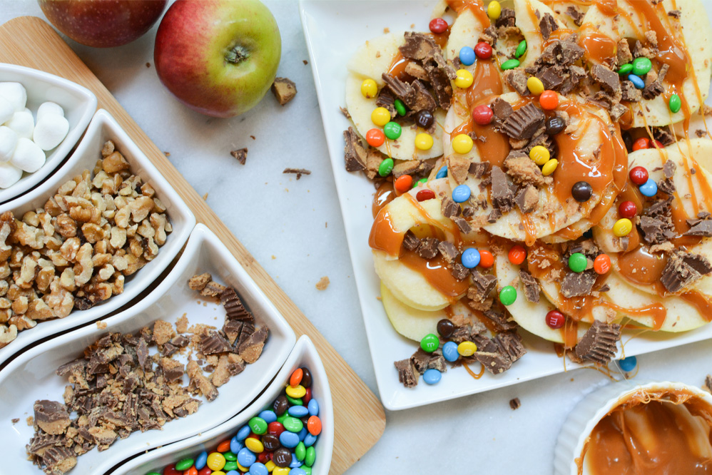 Caramel Apple Nachos with M&Ms