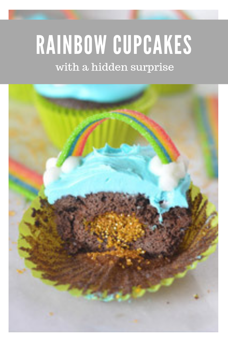 rainbow cupcakes with gold inside