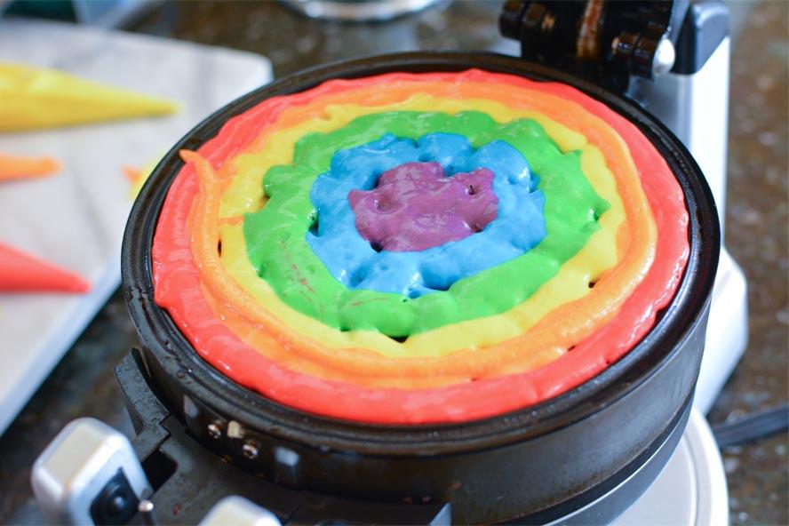 Rainbow Waffles in Waffle iron