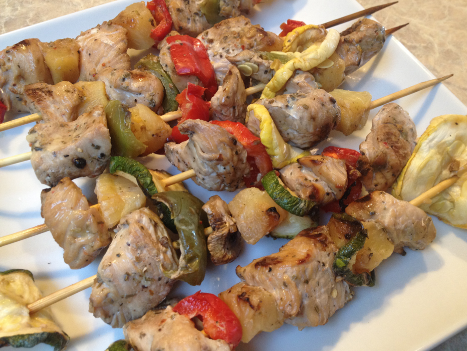 chicken kabobs red pepper squash