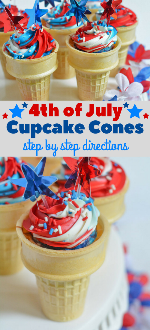 Tremendous Fourth Of July Food Red White And Blue Cupcakes In Ice Cream Cone Funny Birthday Cards Online Alyptdamsfinfo