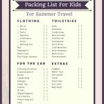 Packing List For Kids for Summer Travel