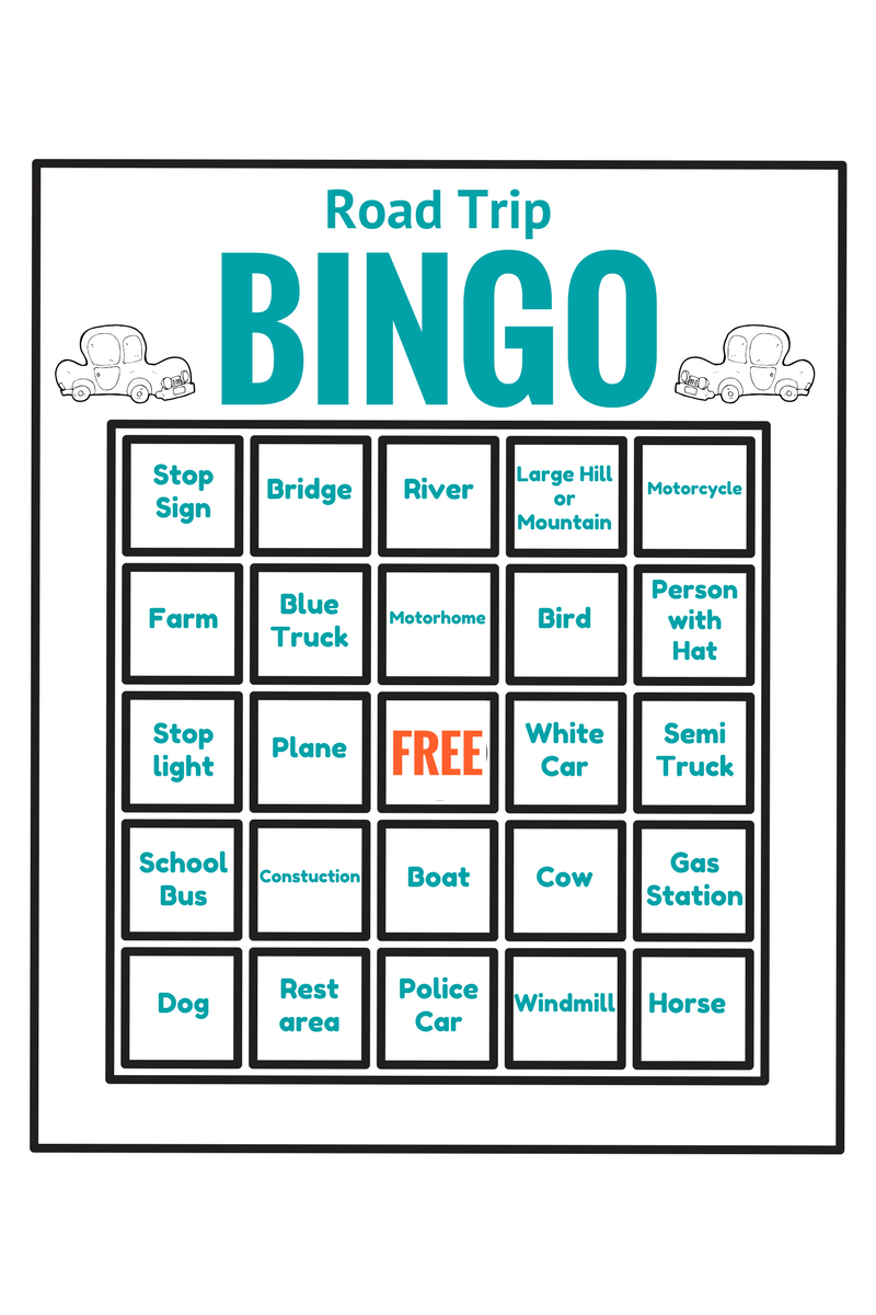 This is a graphic of Universal Printable Travel Bingo