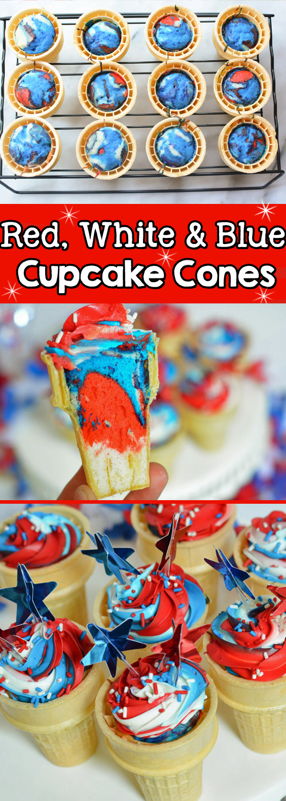 red white and blue cupcake cones