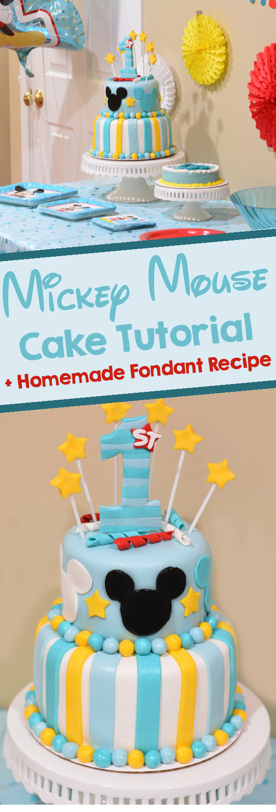 Magnificent How To Make A Mickey Mouse Cake With Fondant Mommys Fabulous Finds Funny Birthday Cards Online Sheoxdamsfinfo