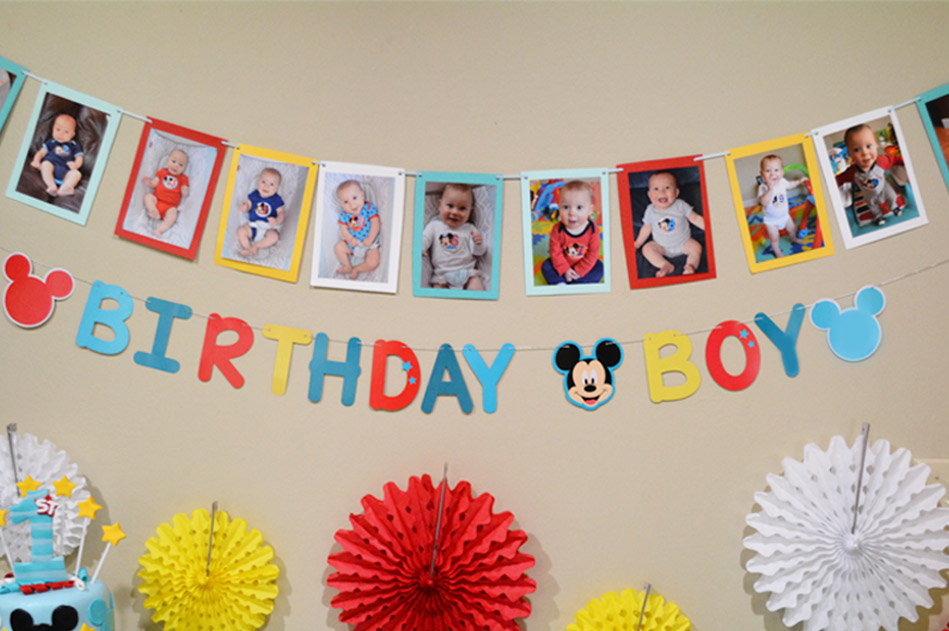 Mickey First Birthday Party Banner