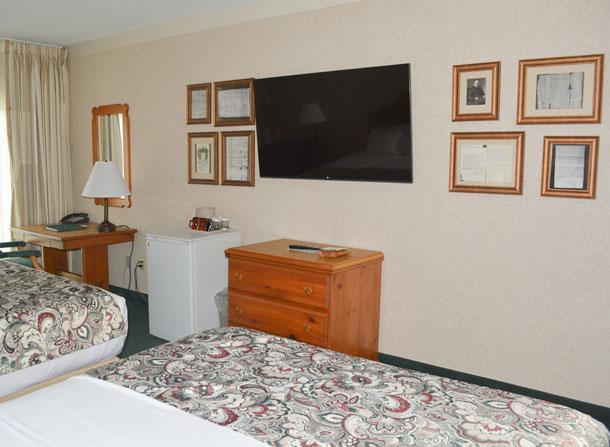 Bavairan Inn Guestroom TV Fridge Dresser