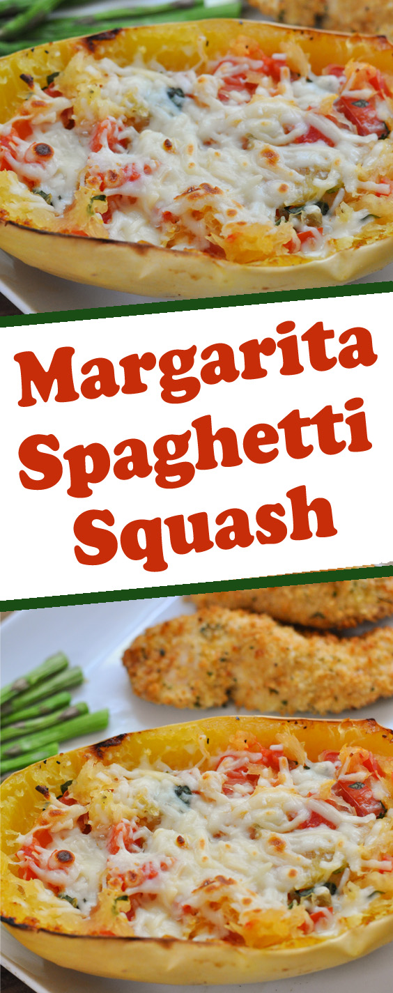 Learn how to make this amazing baked Margarita Spaghetti Squash stuffed with fresh Roma tomatoes, basil, and mozzarella cheese.