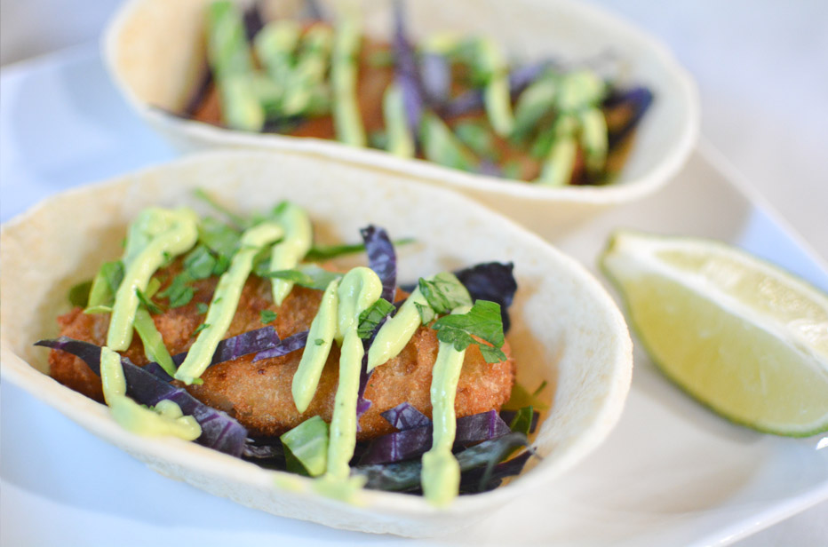 Beer battered fish tacos with a creamy avocado sauce for Fish taco batter recipe