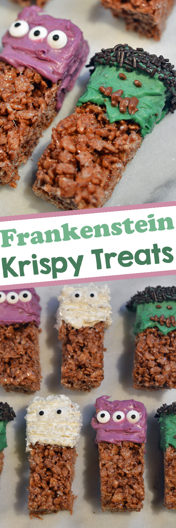 Easy Frankenstein Krispy Treats for Halloween