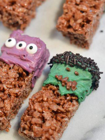 Easy Halloween Treats - Frankenstein Krispy Treats