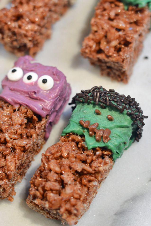 these chocolate frankenstein krispy treats are perfect for your halloween parties or an after school monsterific snack theyre easy to make and only