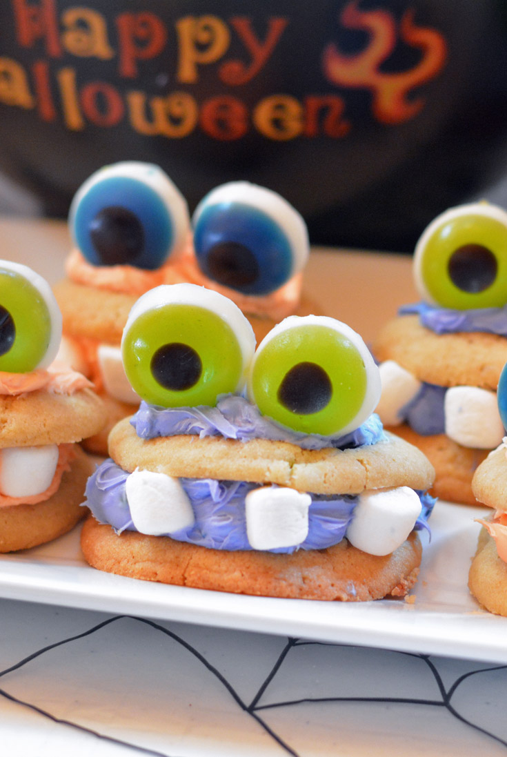 monster cookie with gummy eyeballs