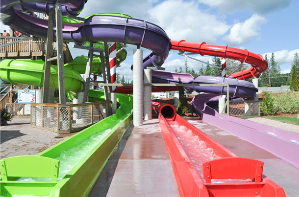 water slides santas village