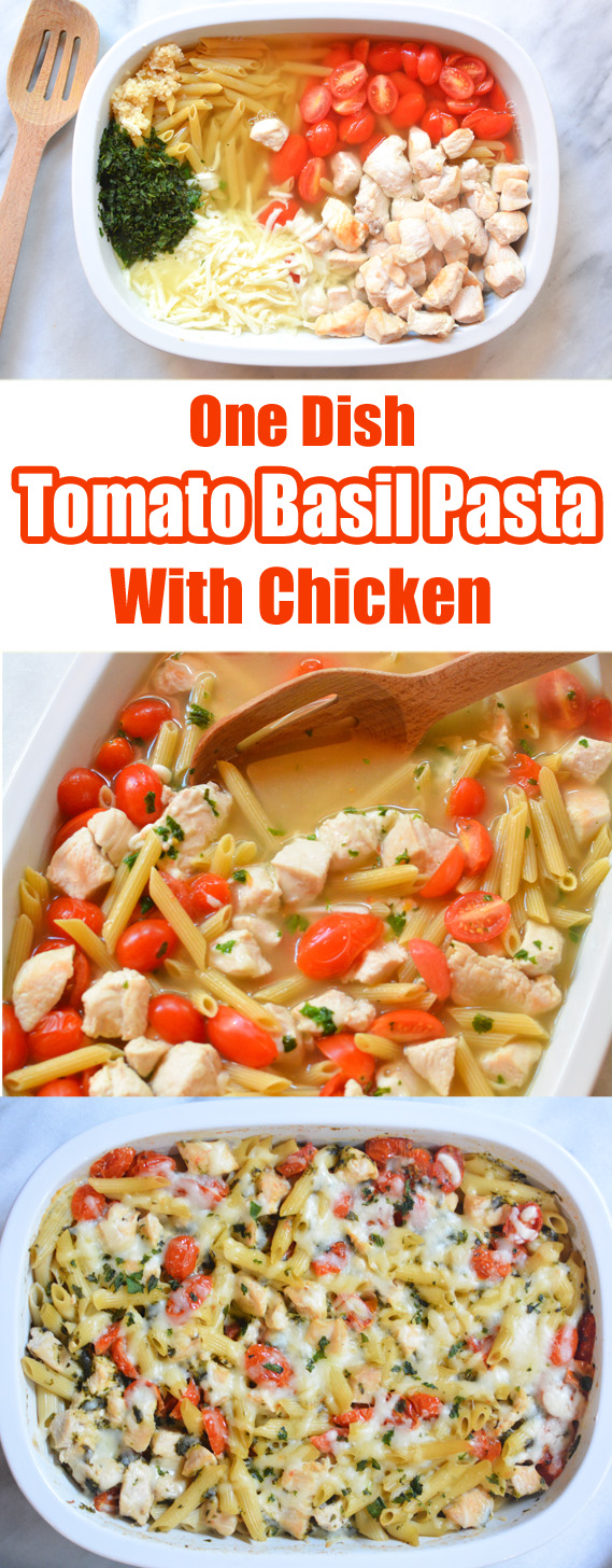 This one dish Tomato Basil Pasta with Grilled Chicken is an easy chicken recipe that requires just 5 minutes of prep time. Just toss everything in a baking dish, and bake for 40 minutes.