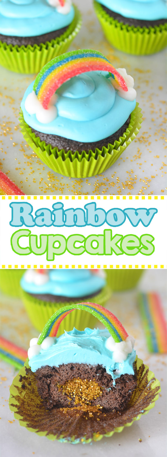 st patricks day rainbow cupcake