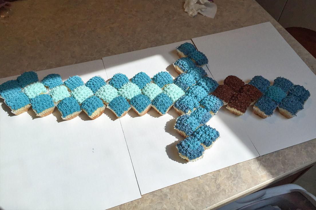 how to make a minecraft cupcake cake