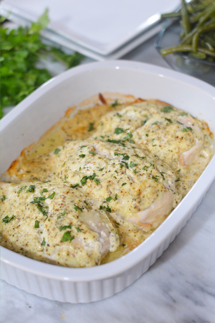 Sour Cream chicken in casserole dish