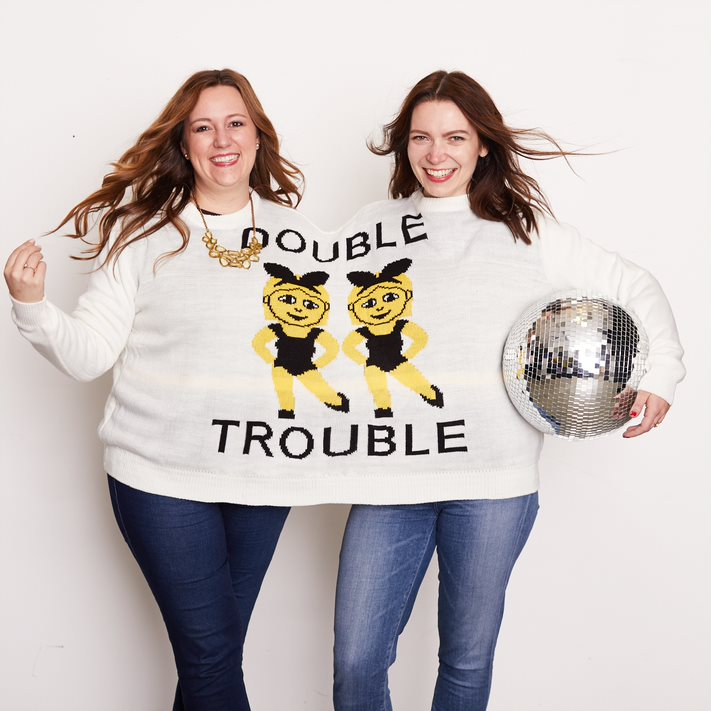 double trouble two person sweater