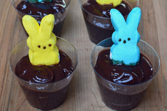 PEEPS bunny in chocolate pudding