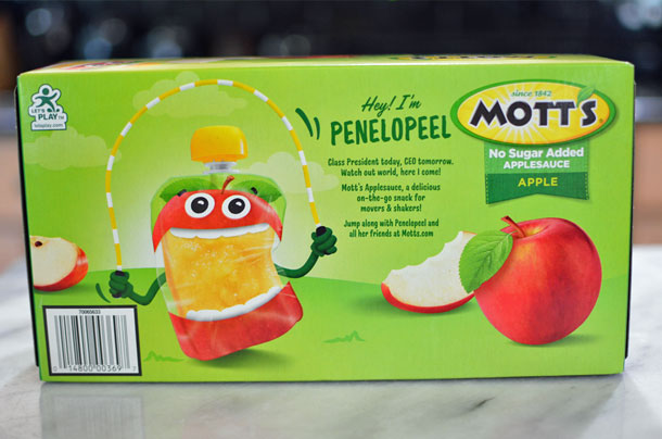 Mott's no sugar added applesauce pouches