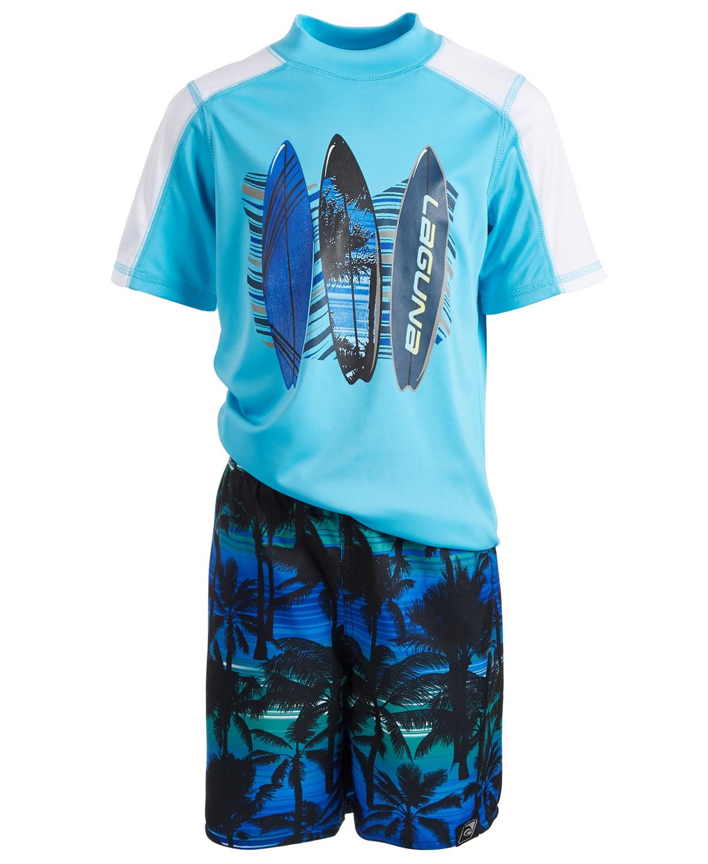 Toddler blue Rash Guard & Swim Shorts Set
