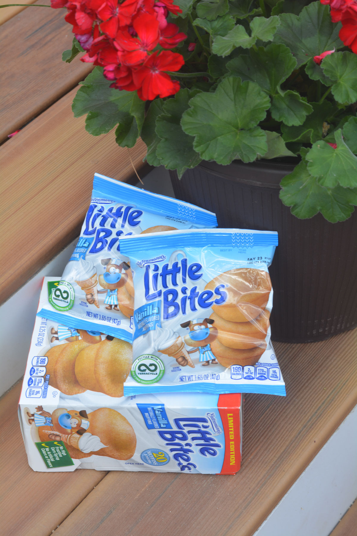 Box of Little Bites Vanilla muffins and individual packages
