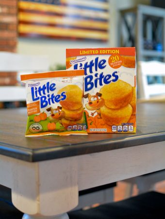 box of little bites pumpkin muffins on table